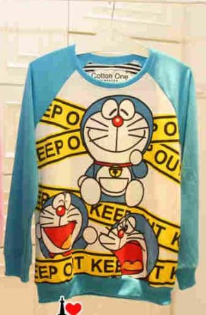 Sweater Doraemon Blue Keep Out
