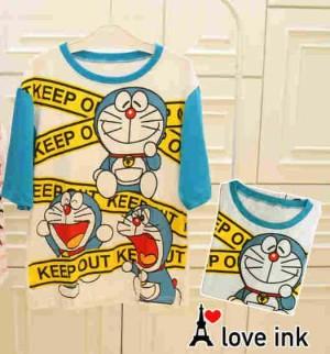 Kaos Atasan Doraemon Blue White Keep Out XXL