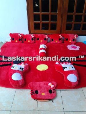 Karpet FULLSET Karakter Bentuk Kepala Hello Kitty