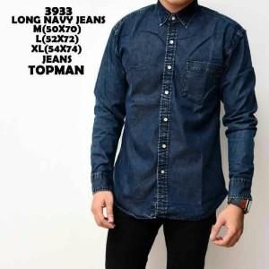 baju kemeja jeans pria murah lengan panjang topman biru navy