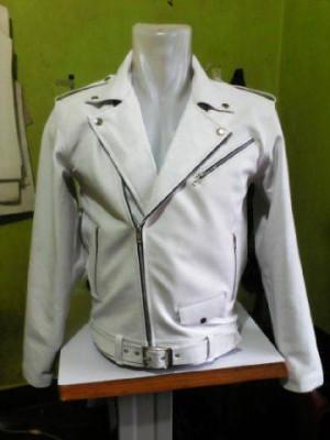 Jaket Kulit putih asli Pria Serong