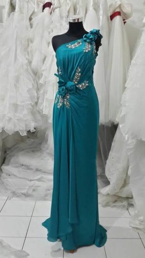 long dress hijau tua 1shoulder