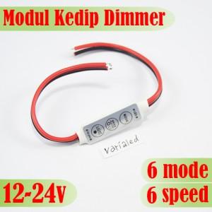 Modul Led Mini Dimmer Controller Kedip Strobo 6 Mode 6 Speed 12-24V 6A