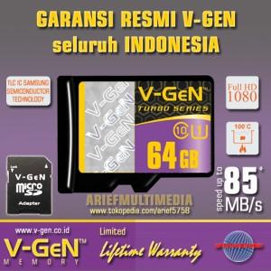 MicroSD XC 64GB V-GEN Turbo C10 UHS-1 85MB/s - GARANSI RESMI V-GEN