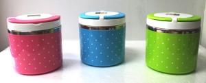 Rantang Susun 1 Putar Polkdot Stainless Steel Kedap / Lunch Box