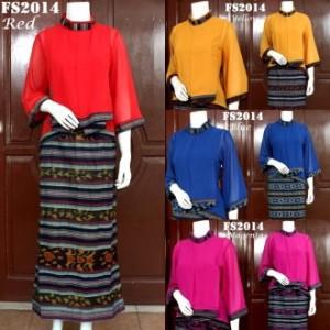 Jual Setelan Baju Pesta Varisha Bahan batik Tenun Cantik FS2014