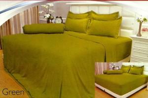 Sprei Polos Vallery 180×200 Tinggi 30cm Sprei Jacquard Warna GREEN