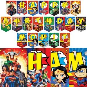 Custom 28 Bendera Bunting Flags Justice League Birthday Banner DC Comi
