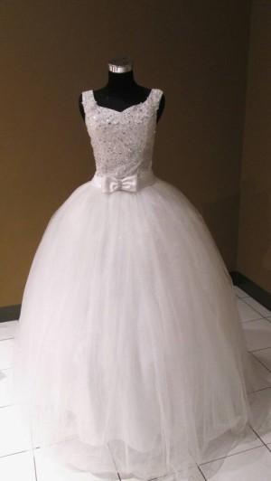 wedding gown non ekor berlengan