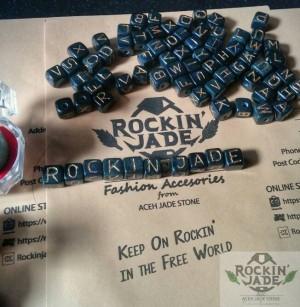 gelang Kalung dadu Huruf Nama batu natural Black Jade Giok Hitam Aceh