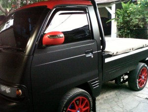 Sticker Mobil Wrapping Full Body Hitam Doff Pick Up