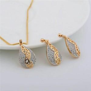 Set Perhiasan Wanita Import Kristal kombinasi 2 Warna Lapis Mas