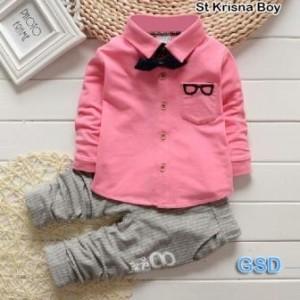 Baju anak laki laki / Setelan anak Cowok Set krisna pink A-048