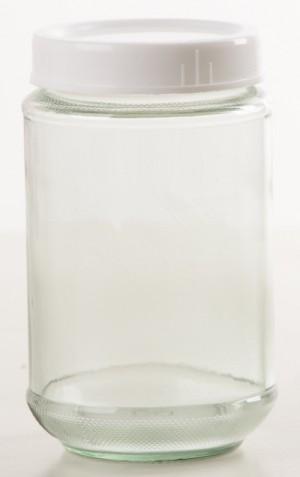 Botol Jar Toples Kaca : 330ml Bulat, Penutup PLASTIK