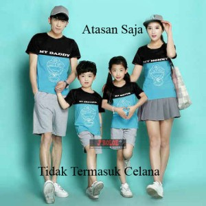 Kaos Family Couple /Baju Keluarga 2 Anak doraemon My Daddy mommy 10156