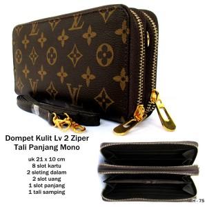 dompet wanita kulit lv 2 ziper tali panjang monogram