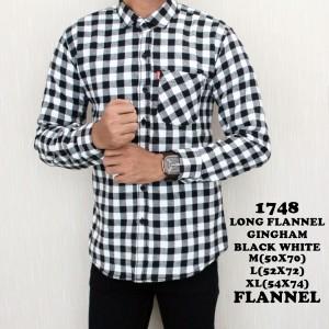 Jual Kemeja Pria Panjang Flannel Kotak Kotak Hitam Putih