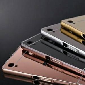 Slide Mirror Rose Gold Source Alumunium Bumper Mirror Armor Cover Case Casing Sony Xperia M4 Aqua