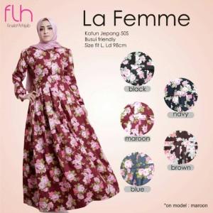 Busana Muslim Wanita Motif Bunga Cantik La Femme