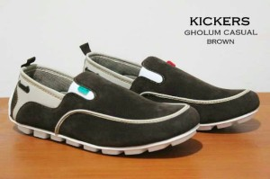 sepatu slip on kickers casual mocasin slop kulit suede
