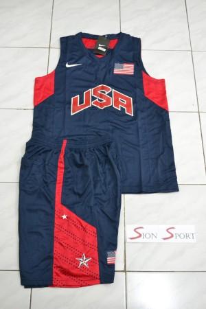 Setelan Baju Jersey Basket NBA Impor kids anak - USA navy 2012