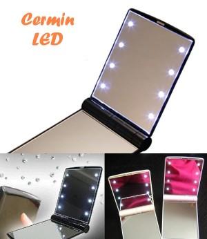 Cermin makeup lampu LED rias wajah kecil mini lipat kaca muka make up