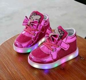 Sepatu Anak Hello Kitty Lampu LED Hotpink Ukuran 21-25