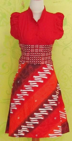 Dress Batik Katun Primis Tanpa Lengan (RBD0247) SELINA GARIS HITAM