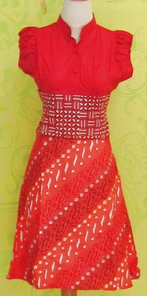 Dress Batik Katun Primis (RBD0244) SELINA UKIRAN ORANGE