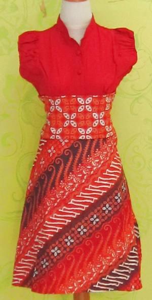 Dress Batik Katun Primis Tanpa Lengan (RBD0243) SELINA KAWUNG ORANGE