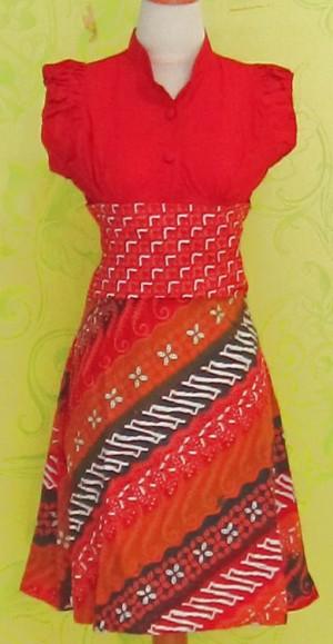 Dress Batik Katun Primis Tanpa Lengan (RBS0249) SELINA KAWUNG PUTIH