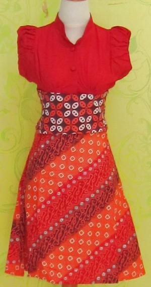 Dress Batik Katun Primis Tanpa Lengan (RBD0248) SELINA KOTAK UKIR