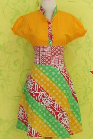 Dress Batik Katun Primis LYNNE KUNING BUNGA ^^