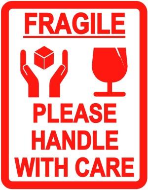 jual stiker fragile barang mudah pecah inggris astha