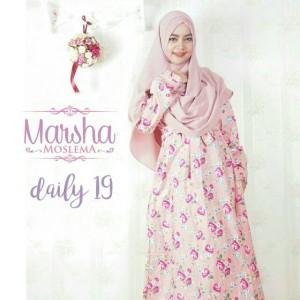 Gamis Katun Jepang All Size MARSHA MOSLEMA Pink