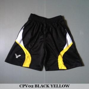 Celana Pendek Olahraga Badminton Bulutangkis Victor CPV02 Black Yellow