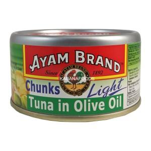 Tuna Minyak Zaitun Kalengan Ayam Brand Tuna Chunks in Olive Oil Light