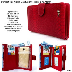 dompet model hp alexia max kulit crocodile 1 hp merah