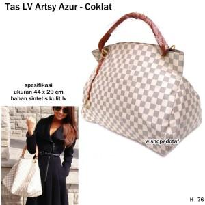 tas wanita handbag kulit lv arsty azur coklat