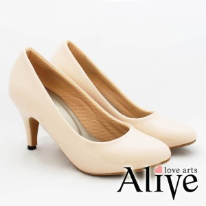 AliveLoveArts BasicPump Cream Heels Fashion Sepatu Wanita Termurah