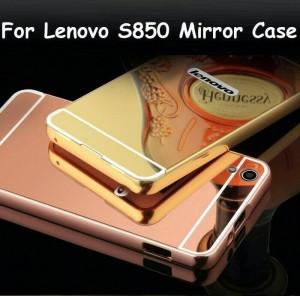 Bumper Mirror Lenovo S850 Aluminium Metal Bumper With Back hard Case P
