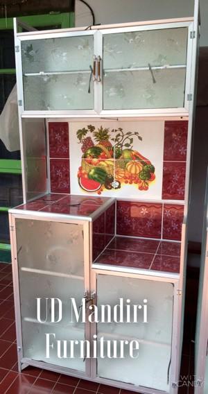 Jual Rak Piring Lemari Dapur Box Kaca Keramik Dua Pintu Pipa