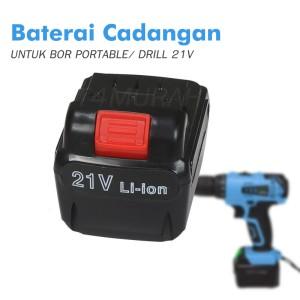 EXTRA BATERAI Cadangan Untuk Mesin Obeng / Bor Portable 21V
