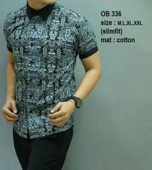 Baju Kemeja Batik Pria modern slim fit lengan pendek OB-336