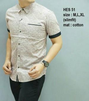 Baju Kemeja pria batik modern slim fit lengan pendek HES-51