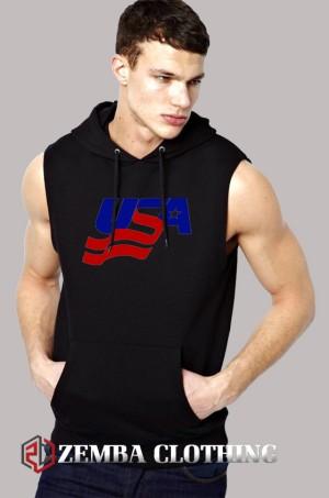 Vest Hoodie USA Logo - Zemba Clothing