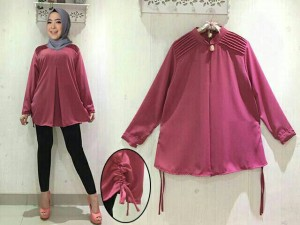 BL Blouse XXL Yumi Jumbo top dusty crepe tebal Red Dusty White Tosc