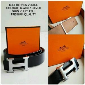 Belt HERMES Venice Black/Silver Premium