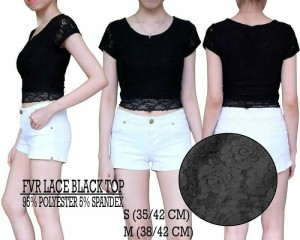 Baju Branded Wanita - FOREVER21 LACE BLACK TOP