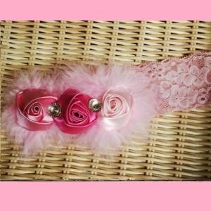 Barika bandana bayi dan anak headband bc0070 - bulu merah pink